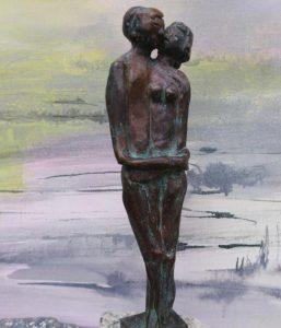 Paar in Bronze, 20cm, Unikat