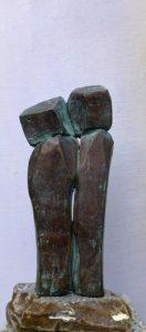 Paar in Bronze, 11cm, Unikat