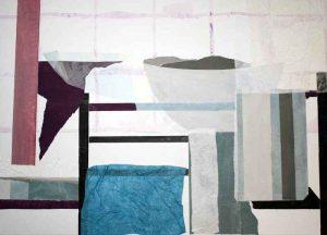 Papiercollage auf Leinwand, 70 x 50 cm