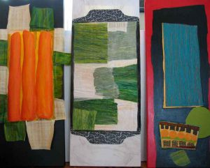 3-teilige Collage , Papier auf Holz