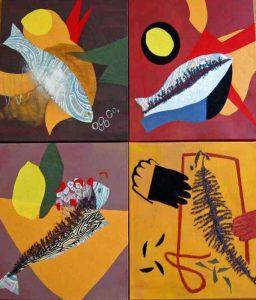 Stoff-Collage auf Keilrahmen, 30 x 30 cm