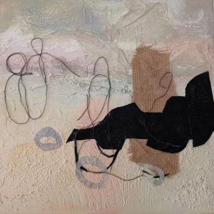Papier-Stoff-Collage auf Leinwand; 40 x40 cm