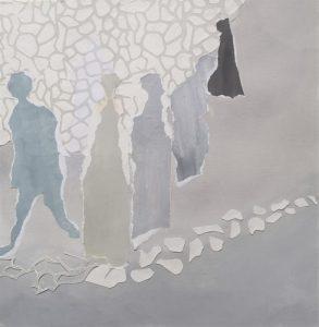 Papier-Collage auf Leinwand; 50 x50 cm