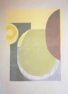 Linolschablonendruck auf Papier, 50 x 70 cm